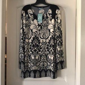 NWT Black and White Long Sleeve Nostalgia Dress